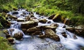 在山的瀑布 免版税库存照片