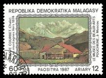 在山的瑞士山中的牧人小屋居斯塔夫・库尔贝 库存例证