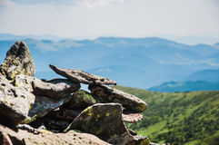 在山的石头 库存照片