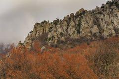在山的秋天风景 克里米亚, Demerdzhi 库存图片