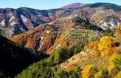 在山的秋天 建造者 库存图片