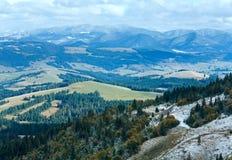在山的第一片冬天雪和秋天叶子 库存图片
