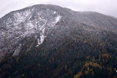 在山的第一雪仍然是秋天 库存照片