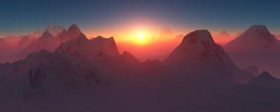 在山的红色日落 免版税库存照片