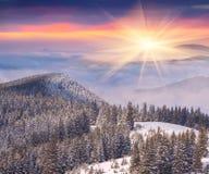 在山的美好的冬天日出 免版税库存照片