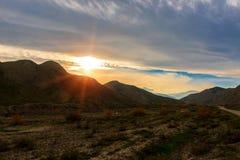 在山的美好的日落 免版税图库摄影