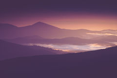 在山的美好的有雾的早晨 免版税库存照片