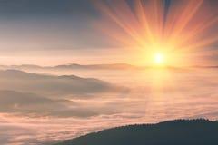 在山的美好的风景在日出 森林减速火箭的作用包括的有雾的小山的看法 旅行的概念backg 免版税库存照片