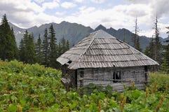 在山的老猎人的小屋 免版税库存照片