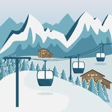 在山的舒适木瑞士山中的牧人小屋 大横向山山 向量例证