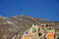 在山的菩萨绘画,哲蚌寺 库存照片