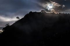 在山的薄雾在清迈 库存照片