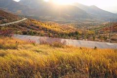 在山的装载在黄土高原的秋天季节在瓷 免版税库存照片