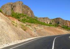 在山的路关闭。非洲,埃塞俄比亚。 库存照片