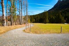 在山的路,巴伐利亚 库存照片