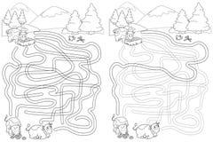 在山的逗人喜爱的母牛,迷宫迷宫比赛 库存例证