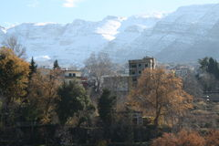 在山的雪 库存照片