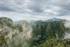 在山的雾在早晨 免版税库存照片
