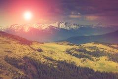 在山的风景:多雪的上面和春天谷在阳光 免版税库存照片