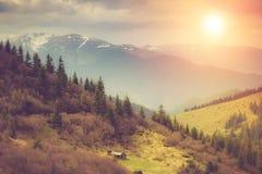 在山的风景:多雪的上面和春天谷 发光由阳光的意想不到的晚上 免版税库存照片