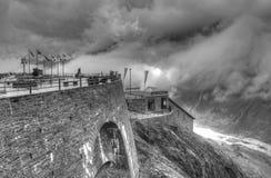 在山的风暴 免版税库存图片