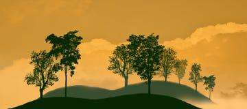 在山的黑树阴影 白色橙色背景 免版税库存照片