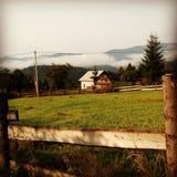 在山的晴朗的夏天早晨 免版税库存照片