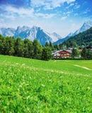 在山的绿色山谷 库存照片