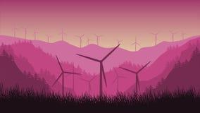 在山背景的第2台动画风轮机在森林里 库存例证