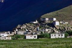 在山腰在豪华的植被绿色领域中,山村,黑暗的背景, sunse的西藏佛教修道院复合体 免版税库存图片