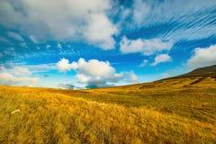 在山草甸上的惊人的cloudscape 免版税库存图片
