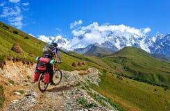 在山蛇纹石的骑自行车者骑马在乔治亚 免版税库存照片
