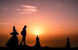 在山顶的日出 库存照片