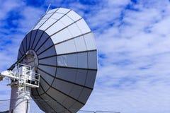 在山顶部的大卫星逗留 Greenlan蓝色卫星  免版税库存图片