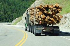 在山高速公路的采伐的卡车 免版税库存图片