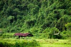 在山麓小丘的村庄 免版税库存照片