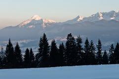 在山,冬天风景 免版税图库摄影