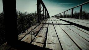 在山水平的移动式摄影车射击的老木桥 关闭 股票视频