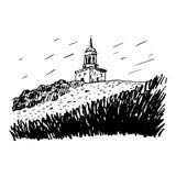 在山Lisjya, Nizhny Tagil,俄罗斯的观察塔 向量例证