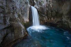 在山Sapadere峡谷的瀑布在土耳其 库存照片