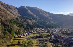 在岐阜,日本白川町去历史的村庄 免版税图库摄影