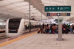 在岗位的中国高速火车 免版税库存照片