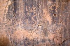 刻在岩石上的文字在南达科他 免版税库存图片
