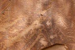 刻在岩石上的文字或岩石艺术雕刻在Freemont,犹他 图库摄影