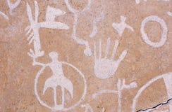 刻在岩石上的文字,报纸岩石,南部的UT 免版税库存图片