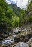 在岩石中的山河用水晶水 免版税库存照片