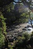 在岩石和冰砾的流动的水 免版税库存照片