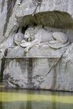 在岩石墙壁雕刻的死的狮子 库存图片