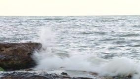 在岩石岸的波浪 股票录像