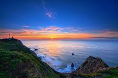 在岩石海岸的日落在罗卡角,葡萄牙 图库摄影